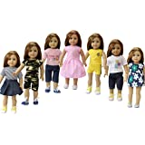 ZITA ELEMENT Doll Clothes 7PCS Casual Outfits Dress Tops Pants for American Girl Doll and other 18 inch Doll Daily Wear Costume GIFT