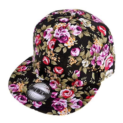 da2141bd ZLYC Women Fashion Floral Print Adjustable Casual Snapback Baseball Cap Hat  (Black)