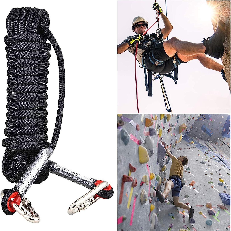 Cuerda de Escalada al Aire Libre, Cuerda de Seguridad con Mosquetón, para Montañismo al Aire Libre, Campamentos Deportivos al Aire Libre, Escape, ...
