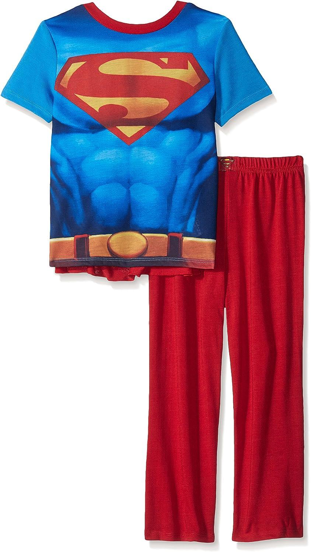 Amazon Com Justice League Big Boys Superman 2 Piece With Cape Red Medium Clothing
