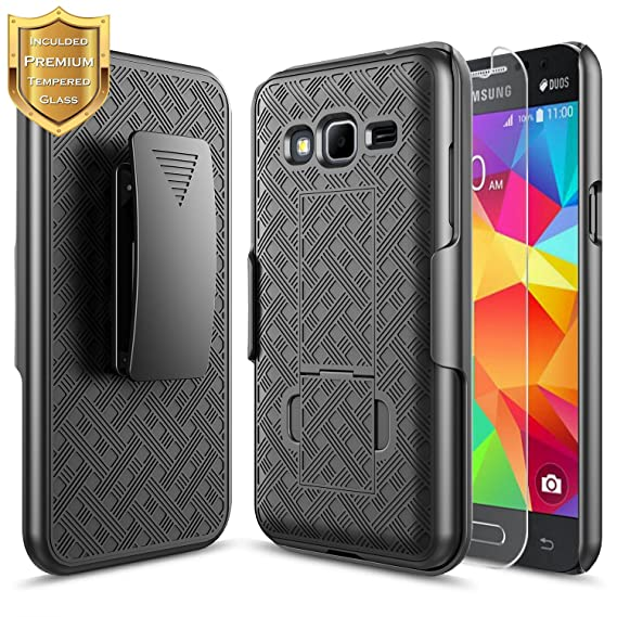 new concept f69fe 4234d Galaxy Sky Case, J36V, J3 (2016), J3 V, Sol, Amp Prime, Express Prime Case  with [Tempered Glass Screen Protector], NageBee [Holster Belt Clip] Armor  ...