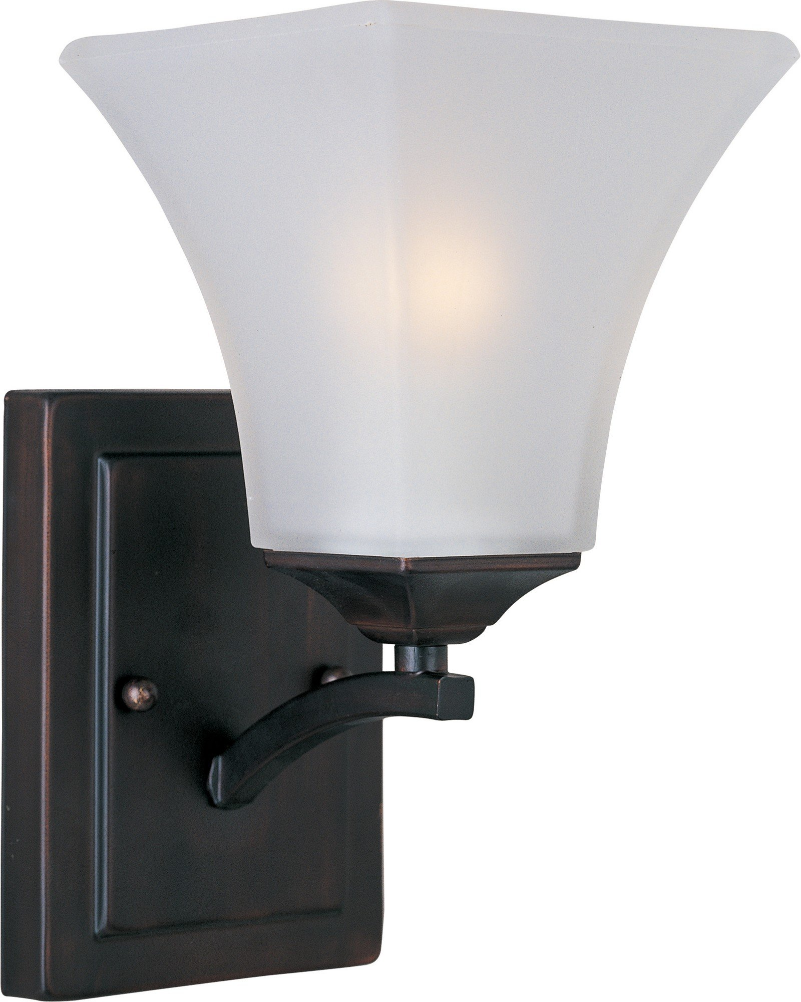 Maxim 20098FTOI Aurora 1-Light Wall Sconce Bath Vanity, Oil Rubbed Bronze Finish, Frosted Glass, MB Incandescent Incandescent Bulb , 100W Max., Damp Safety Rating, Standard Dimmable, Glass Shade Material, 4600 Rated Lumens