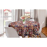 Lunarable Talavera Round Tablecloth, Vintage Style Spanish Floral Motifs Pottery Look Continuous Pattern, Circle Table Cloth Cover for Dining Room Kitchen Decoration, 60