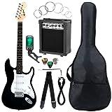 McGrey Rockit ST Komplettset E-Gitarre (8-teiliges Anfängerset mit Gitarre, Verstärker, Ersatzsaiten, Gitarrentasche, Stimmgerät, Plektren, Gurt und Gitarrenkabel) Schwarz