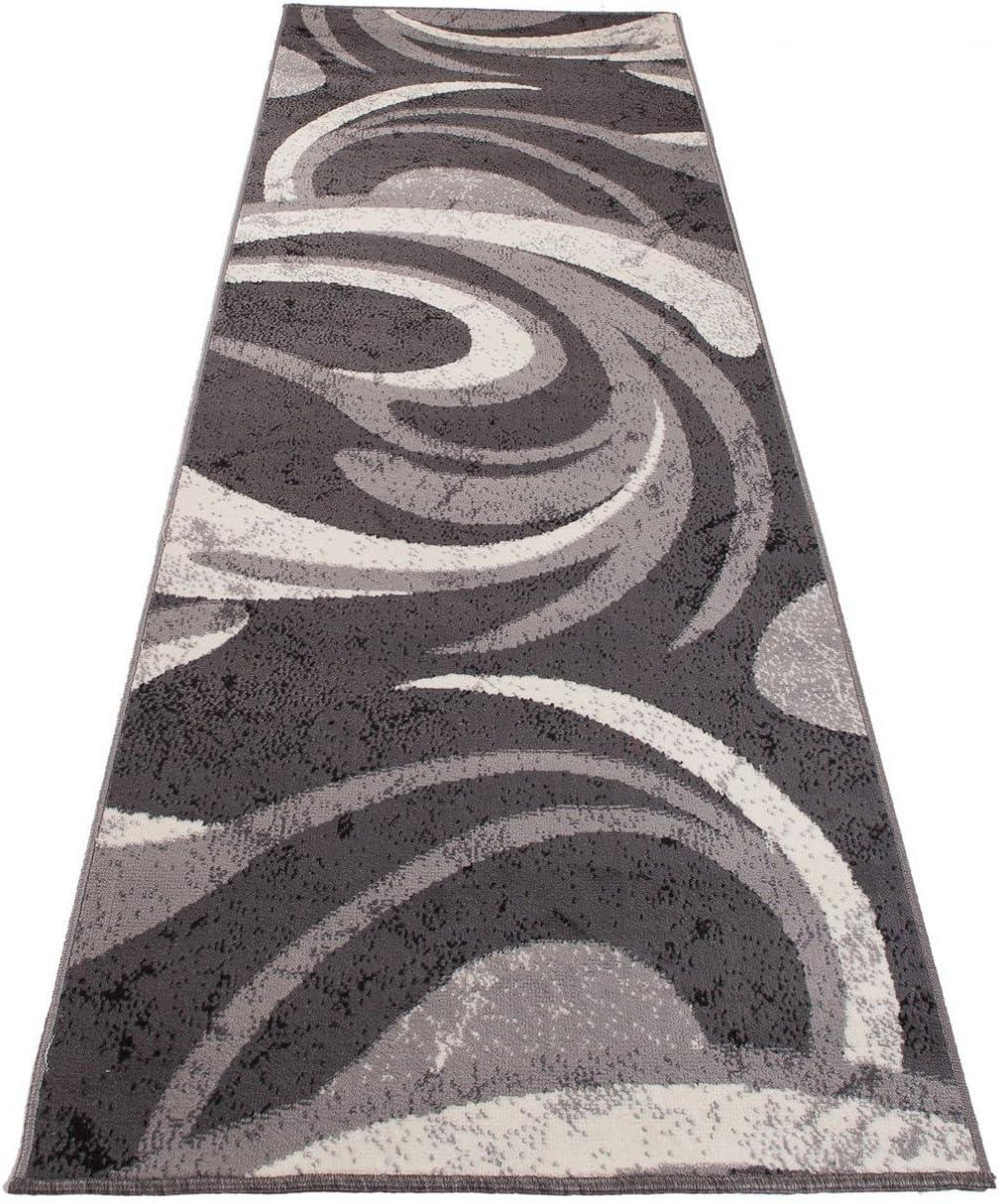 MONACO  70 x 50 cm 2ft4 x 1ft8 Short Perfect For Hall Hallway /& Stairs Grey White Rug Runner Trendy Design Home Carpet Runner Modern Waves Pattern