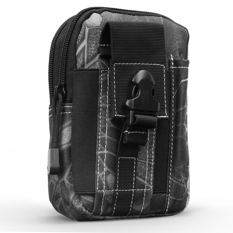 MoKo Taktische Hüfttaschen Molle Tasche, Mehrzweck Universal Outdoor Reißverschluss EDC Pouch Handy Armee Camo, iPhone XS Max/XR/XS/X/8 Plus, Samsung Galaxy S9+/S9 - Grün