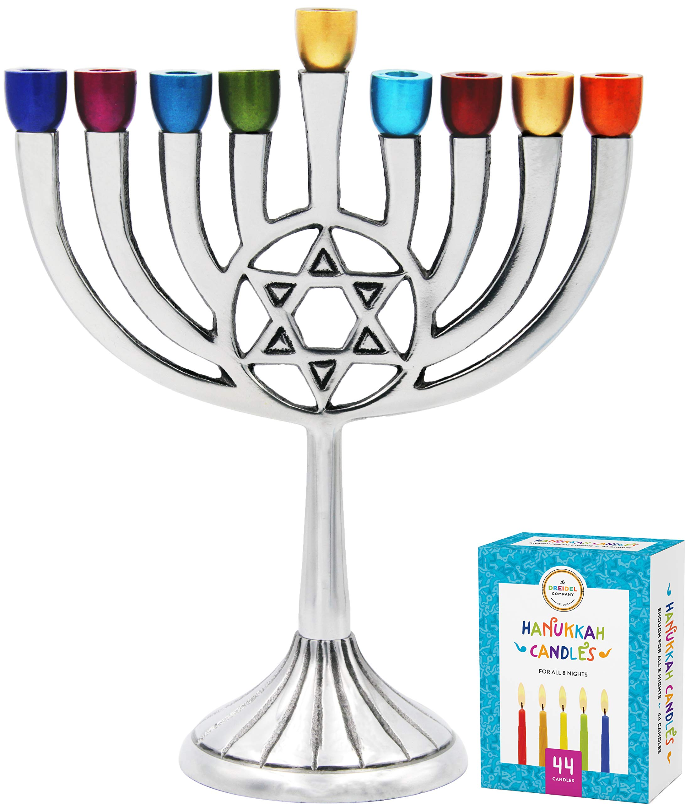 Fits All Standard Chanukah Candles Handcrafted /'/'Hands of Unity/'/' Glass Painted Hanukkah Menorah Ner Mitzvah Glass Candle Menorah