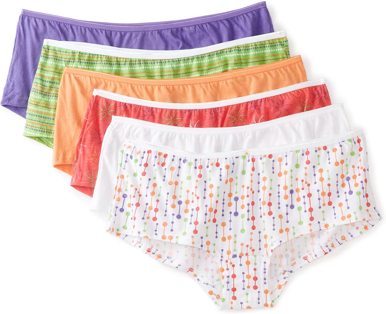 Fruit of the Loom Womens 6 Pack Comfort Covered Waistband Boyshort Panties