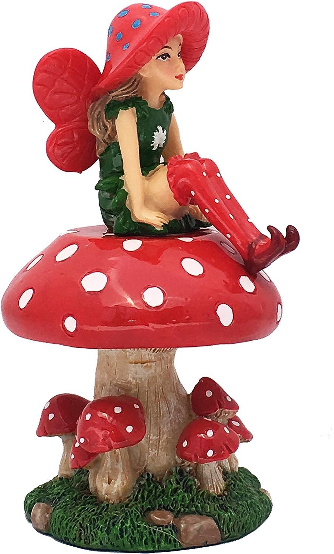 LULU The Large Miniature Fairy with a Detachable Mushroom Fairy Stand for a Fairy Garden / Miniature Garden
