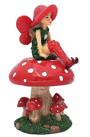 GlitZGlam Lulu El Hada con Soporte Desmontable en Forma de Seta para Jardines de Hadas/Jardines en Miniatura: Amazon.es: Jardín