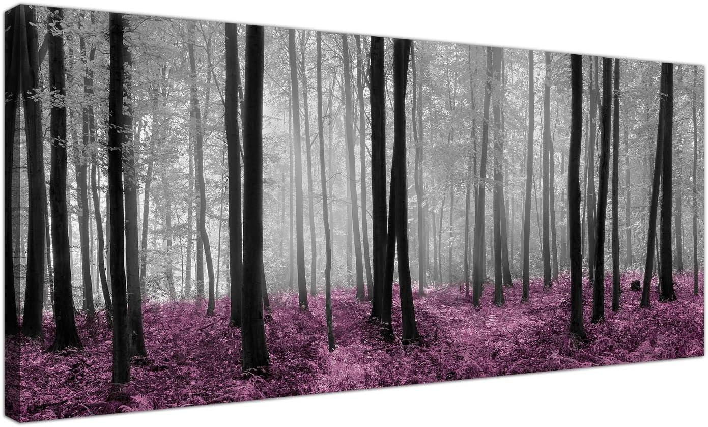 Wallfillers® - Lienzo impreso con el diseño de un bosque en tonos negro y blanco