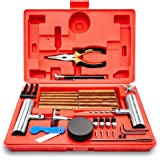 TOOLUXE 50003L Universal Heavy Duty Tire Repair Kit | 57 Piece Value Pack | Fix Punctures and Plug Flats | Ideal for Cars, Tr