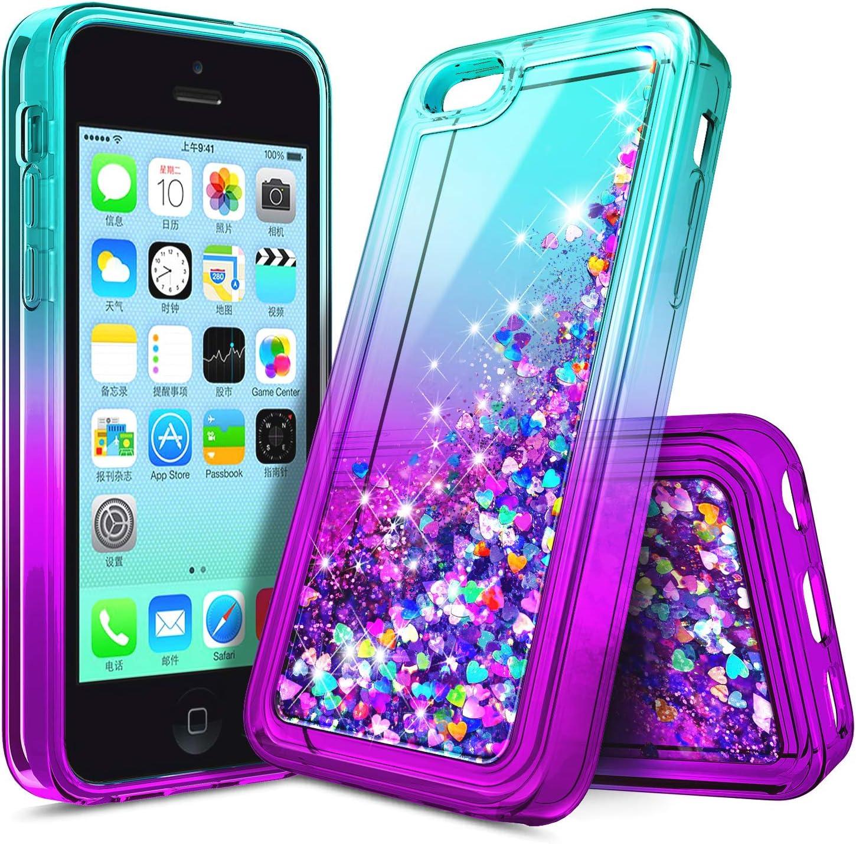 NZND Case for iPhone 4, iPhone 4S, Glitter Flowing Liquid Floating Gradient Quicksand, Shockproof Durable, Girls Women Cute Soft TPU Phone Case -Aqua/Purple