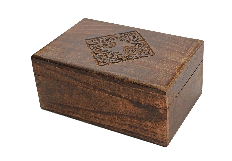 Store Indya, Estilo de campo de madera de la joyeria cajas de recuerdo del recuerdo del organizador del almacenaje con tallada mano Diseno celta