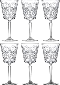 Goblet - Red Wine Glass - Water Glass - Stemmed Glasses - Set of 6 Goblets - Lead Free Crystal - 11 oz. - Tattoo Designed -Beautifully Designed - by Barski - Made in Europe