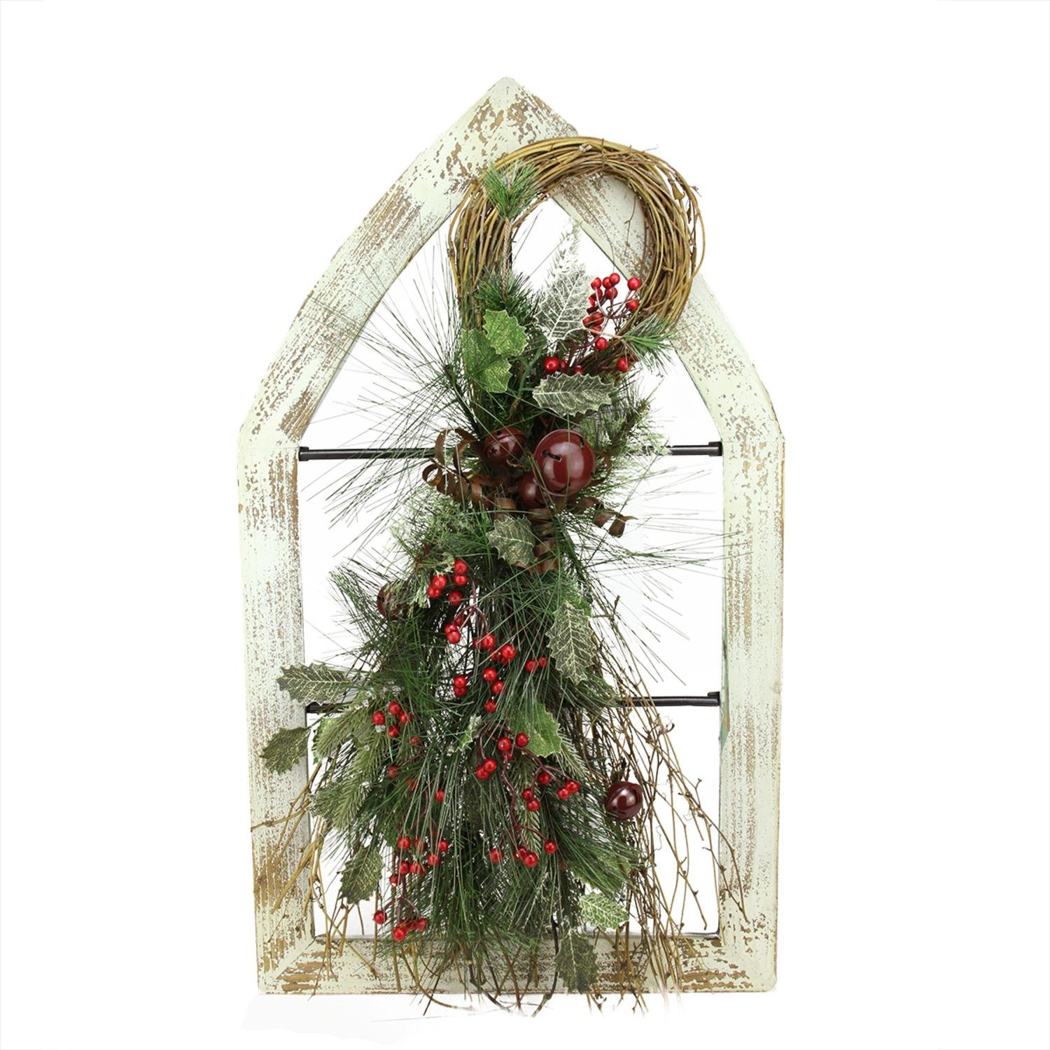 Gerson Washed Window Frame with Mixed Pine & Berry Swag Christmas Wall Decoration, 29.5'', White