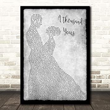 A Thousand Years Black Script Song Lyric Quote Print