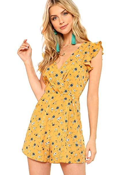 6b413a8e10d0 Amazon.com  Romwe Women s Surplice Floral V Neck Flounce Shoulder Ruffle  Romper Calico Print Wrap Short Jumpsuit  Clothing