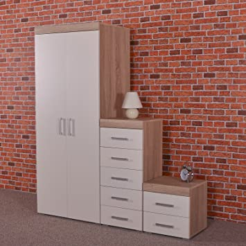 Phenomenal Drp Trading Bedroom Furniture Set White Sonoma Oak Home Interior And Landscaping Ponolsignezvosmurscom