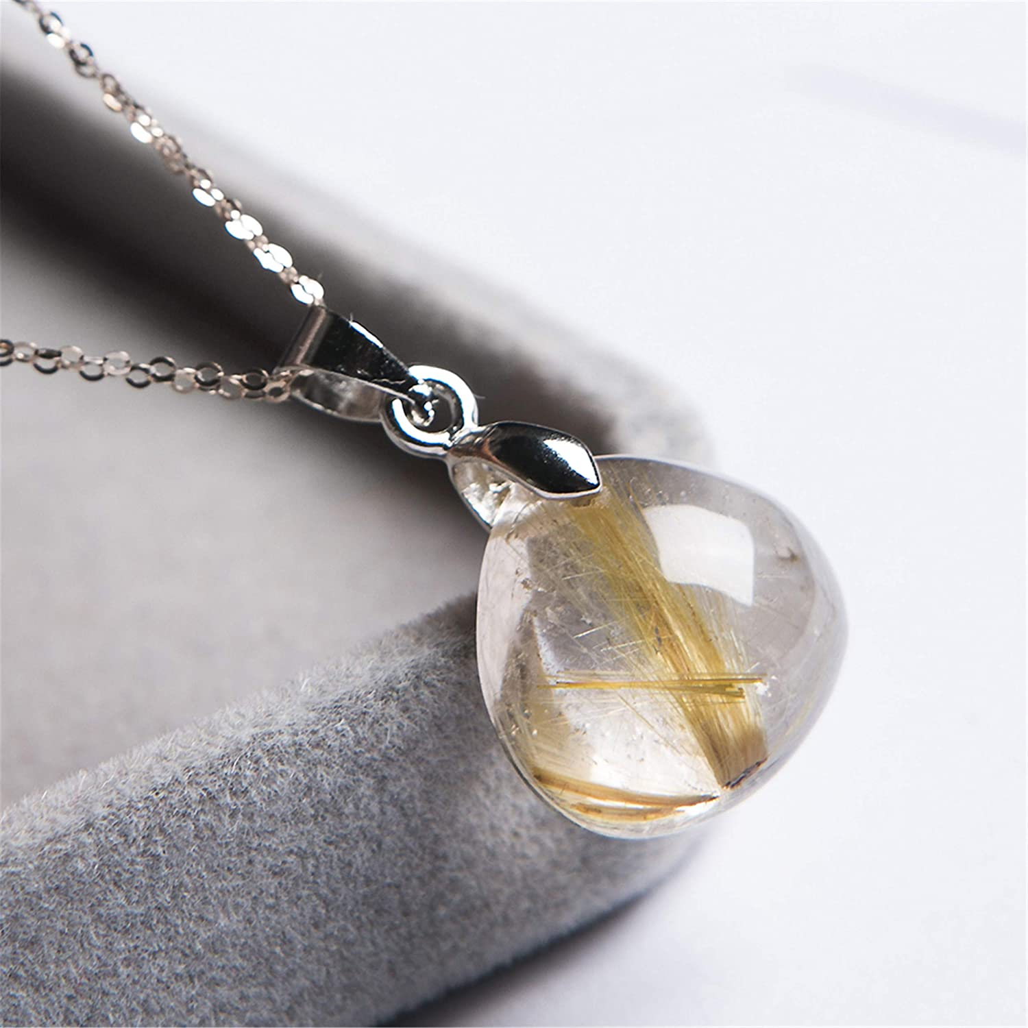 Genuine Jewelry Pendant Natural Gold Titanium Rutilated Quartz Crystal Gemstone Bead Necklace For Women