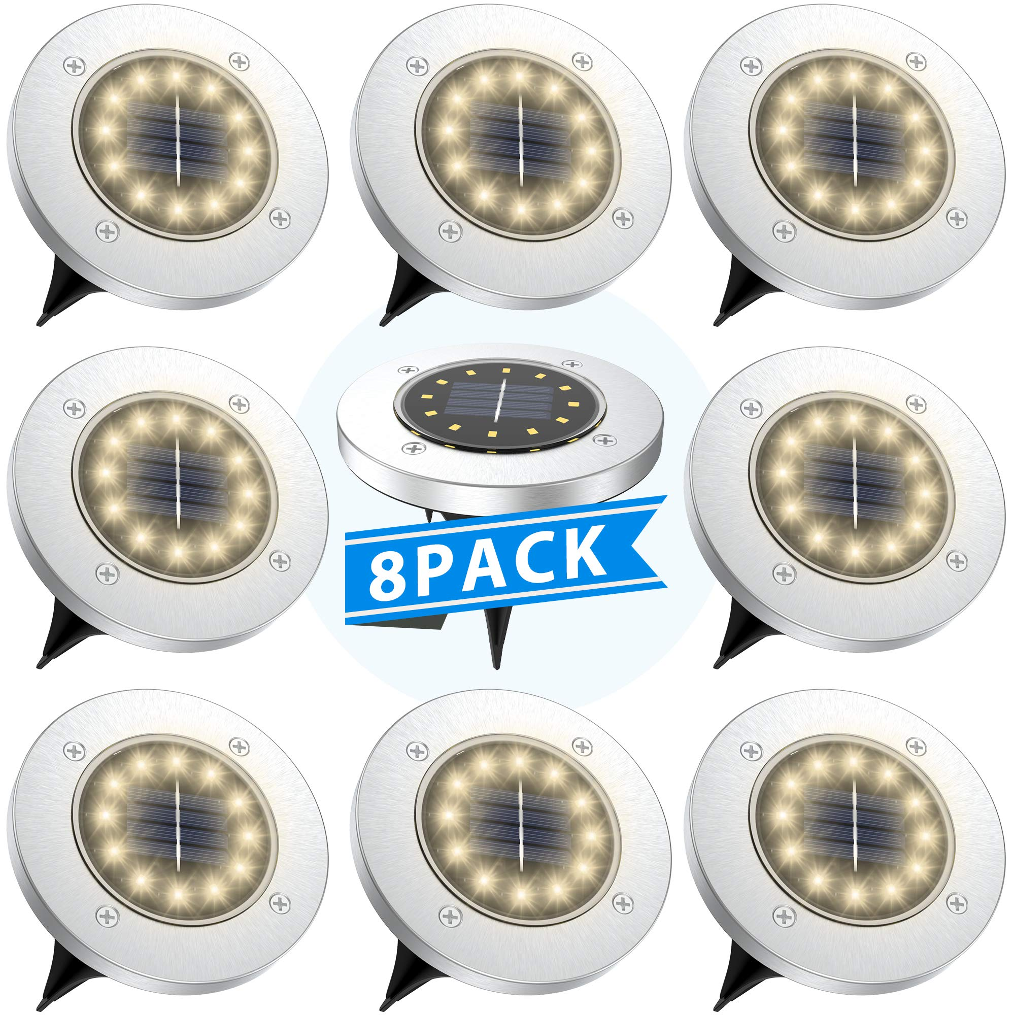 Tesecu Solar Disk Lights 12 LED Solar Ground Lights Outdoor Waterproof Stainless Steel in Ground Solar Lights for Walkway Pathway Lawn Patio Yard Garden- Warm White(8 Pack) by Tesecu