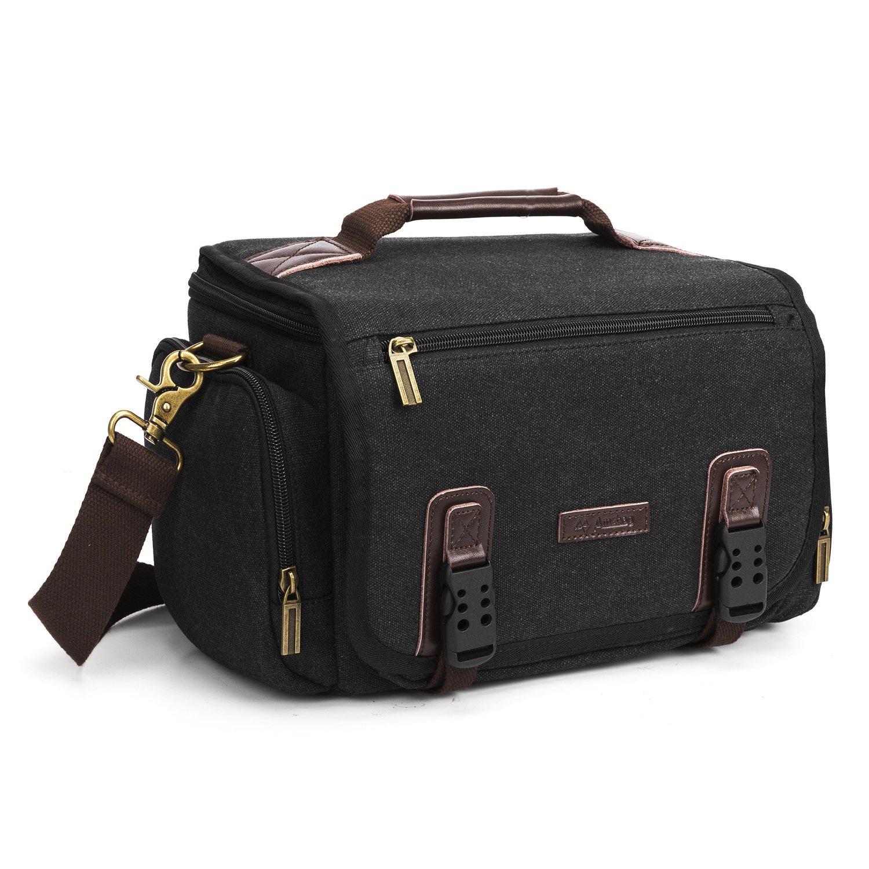 Amzbag Camera Bag DSLR Camera Messenger Bag Case With Shoulder Strap Carrying Shoulder Bag for DSLR, Coolpix, Powershot, Mirrorless, Compact Cameras and Lenses (Black) by Amzbag