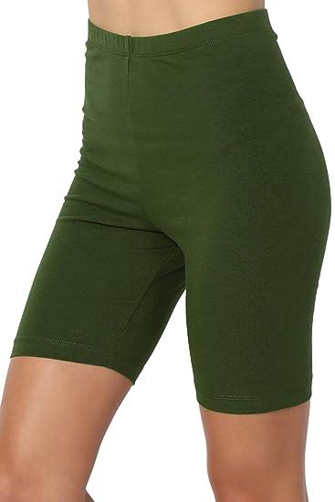 75bda1cf9e TheMogan Women's Mid Thigh Cotton High Waist Active Short Leggings Army  Green S