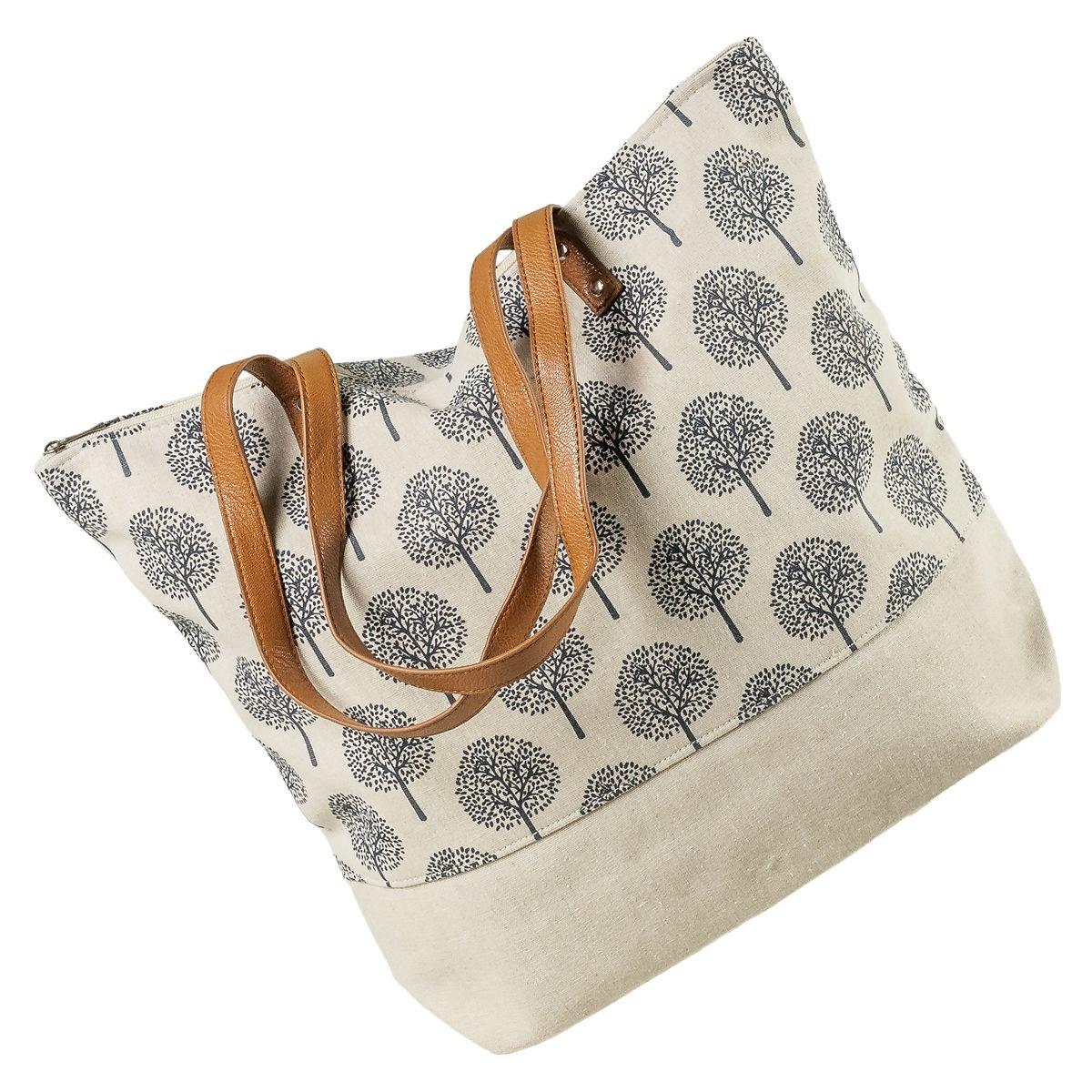 LaFiore24 Shopper Einkaufstasche Damen Umhängetasche Baum Strandtasche Badetasche Reissverschluss (beige) LA FIORE 24