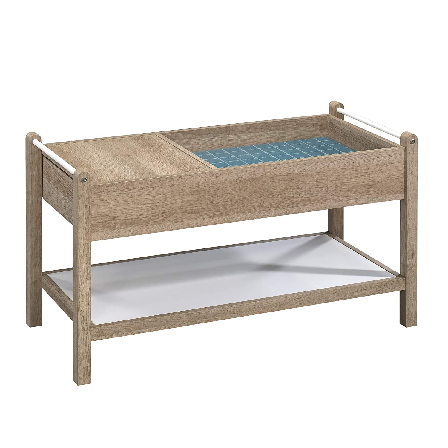 Sauder Anda Norr Storage Coffee Table in Sky Oak and White