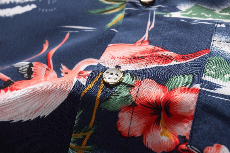 SSLR Big Boy's Flamingos Button Down Short Sleeve Aloha Hawaiian Shirt (Large(14-16), Dark Blue) by SSLR (Image #6)