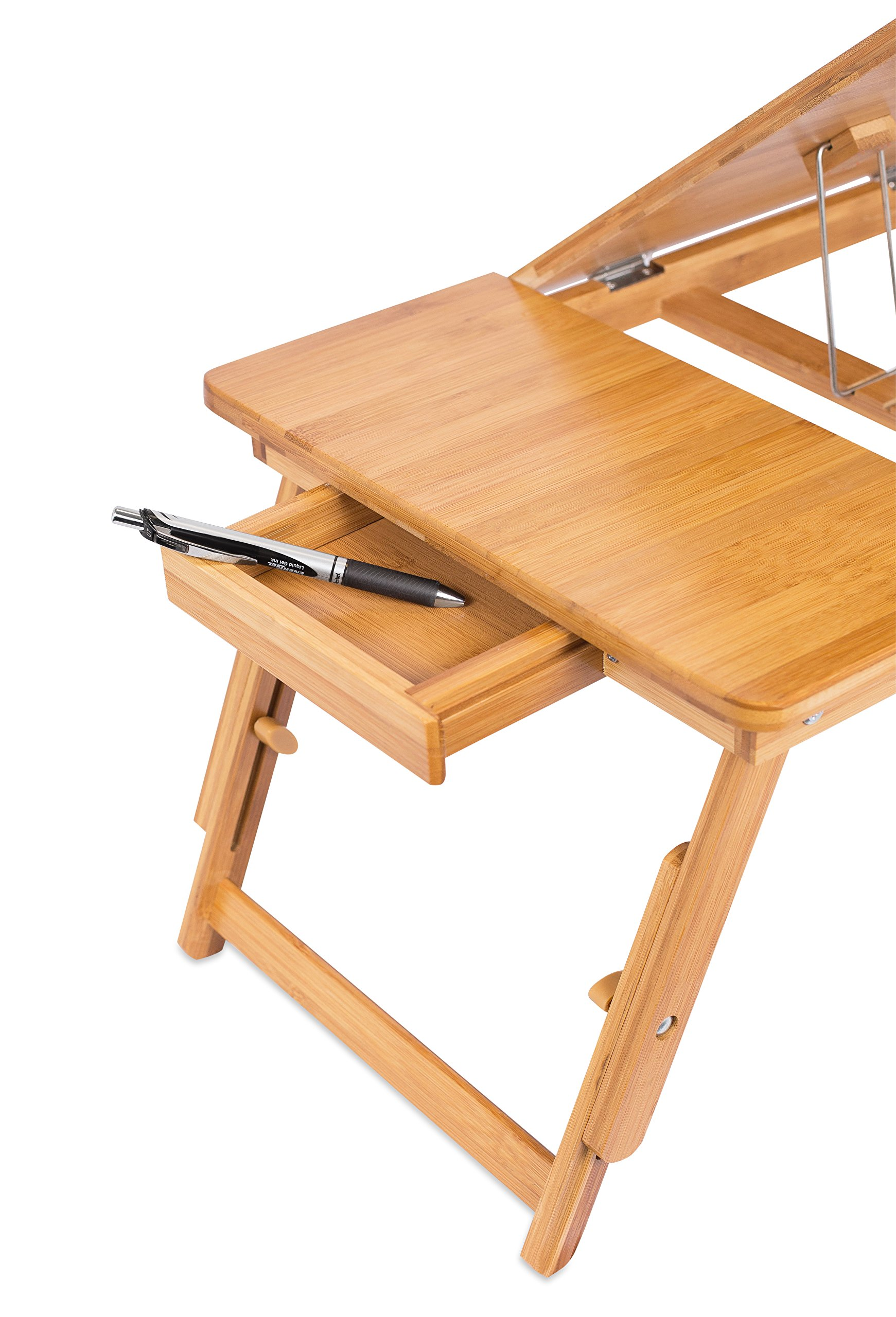 Sofia + Sam Laptop Lap Tray with Adjustable Legs | Bamboo | Foldable Breakfast Serving Bed Tray | Lap Desk with Tilting Top and Side Drawer | Laptop Stand | Natural by Sofia + Sam (Image #8)