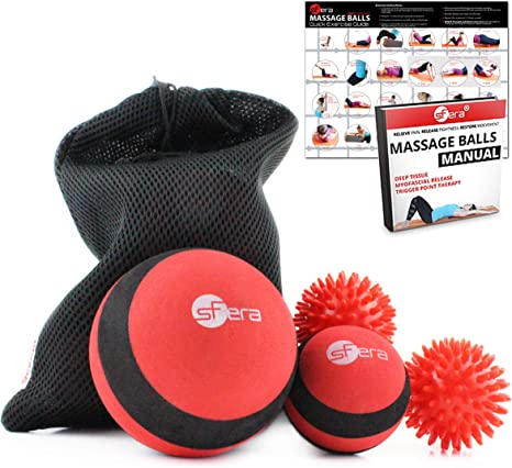 Softer Inner Gear Shaped Foam Sturdy Textured Roller 3 in 1 Roller Massage Therapy Tool Set Improve Mobility, Deep Tissue Trigger Point- Myofascial Release and Massage Stick