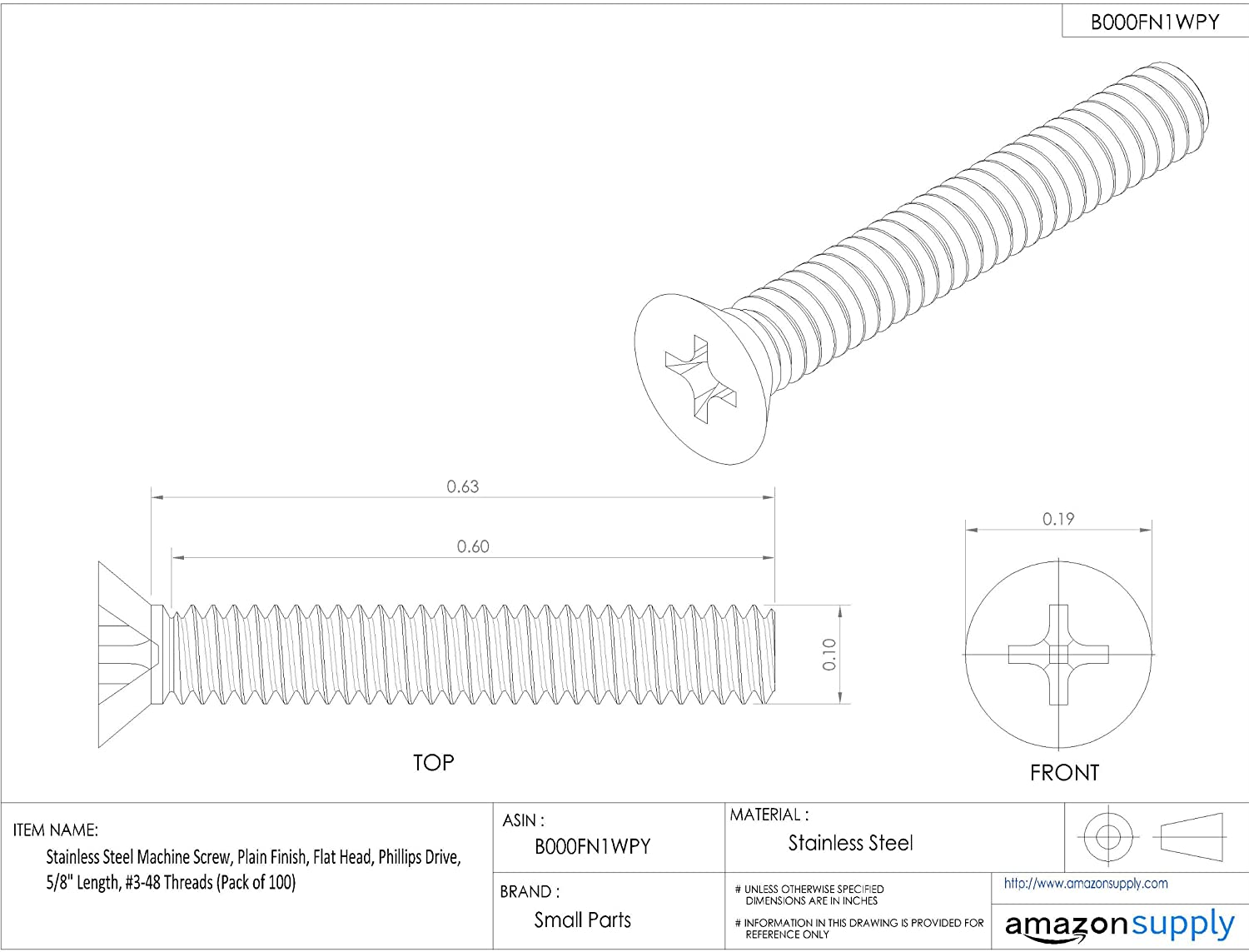 Stainless Steel Machine Screw 5//8 Length Small Parts B000FN1WPY #3-48 Threads Pack of 100 Flat Head Plain Finish Phillips Drive 5//8 Length