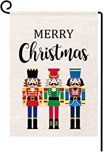 Christmas Soldier Garden Flag Vertical Double Sided Merry Christmas Farmhouse Burlap Flag for Yard Outdoor Decor, 12 x 18 Inches