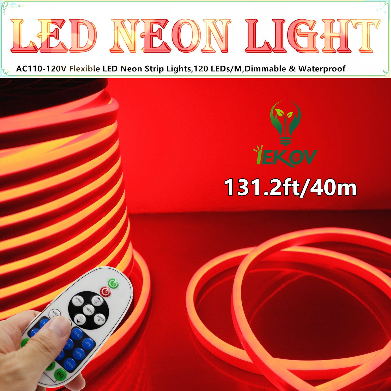LED NEON LIGHT, IEKOV™ AC 110-120V Flexible LED Neon Strip Lights, 120 LEDs/M, Dimmable, Waterproof 2835 SMD LED Rope Light + Remote Controller for Home Decoration (131.2ft/40m, Red)