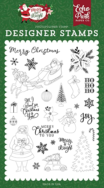 Red//Green//Tan//Burlap//Black Stamp Echo Park Paper Company CCH159044 Deliver Christmas Die /& Stamp Set Paper die