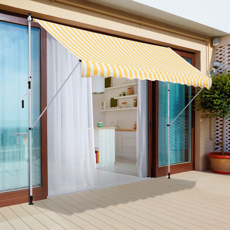 Outsunny Toldo Portátil Balcón Patio Toldo Manual Plegable de Aluminio Altura Ajustable con Manivela para Jardín Terraza Exterior 3x1.5m