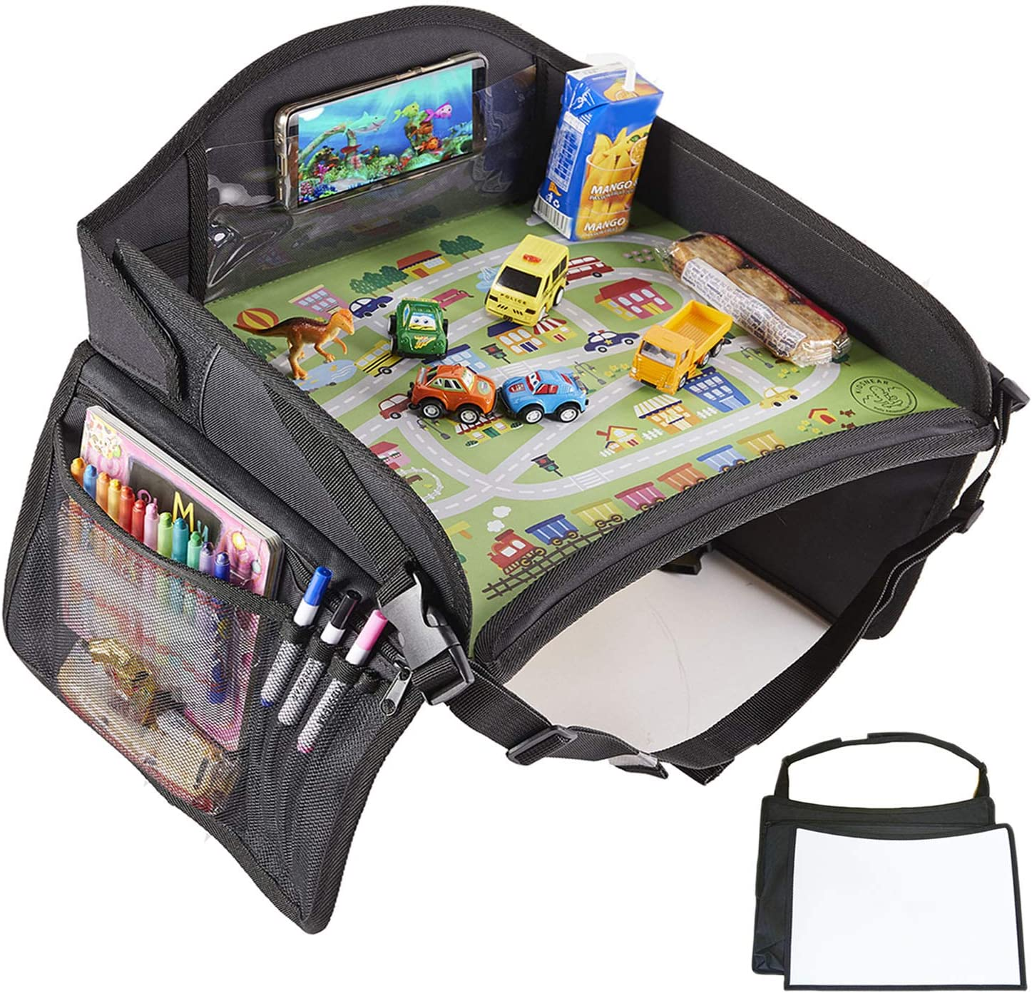 KIDSNEAR Kids Travel Tray, Car Seat Travel Tray, Toddler Travel Tray with iPad & Tablet Holder, Cup Holder, Dry Erase Board (Black)