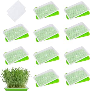 EBaokuup 10Packs Seed Sprouter Tray with Drain Holes - BPA Free Seed Garden Plant Germination Propagation Trays, Soil-Free Wheatgrass Bean Sprouts Microgreens Growing Kit with Germinating Paper