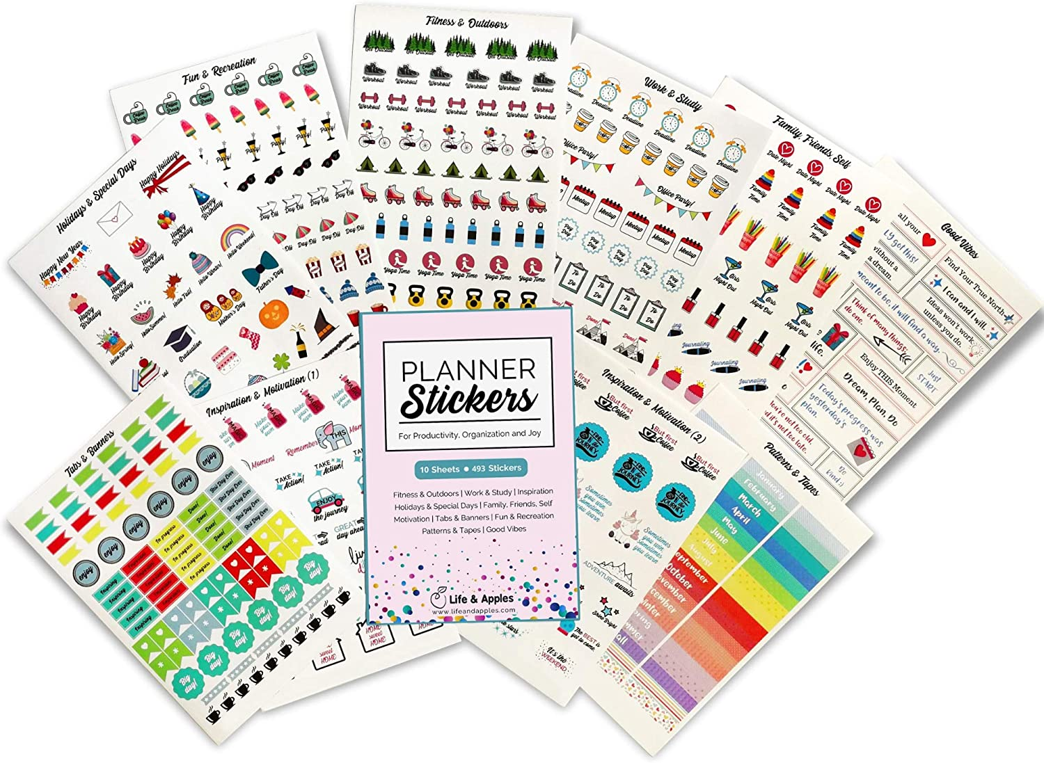 Planner Stickers for Planner, Journal, Diary, Scrapbook, Calendar - Sticker Set for Productivity, Organization and Fun