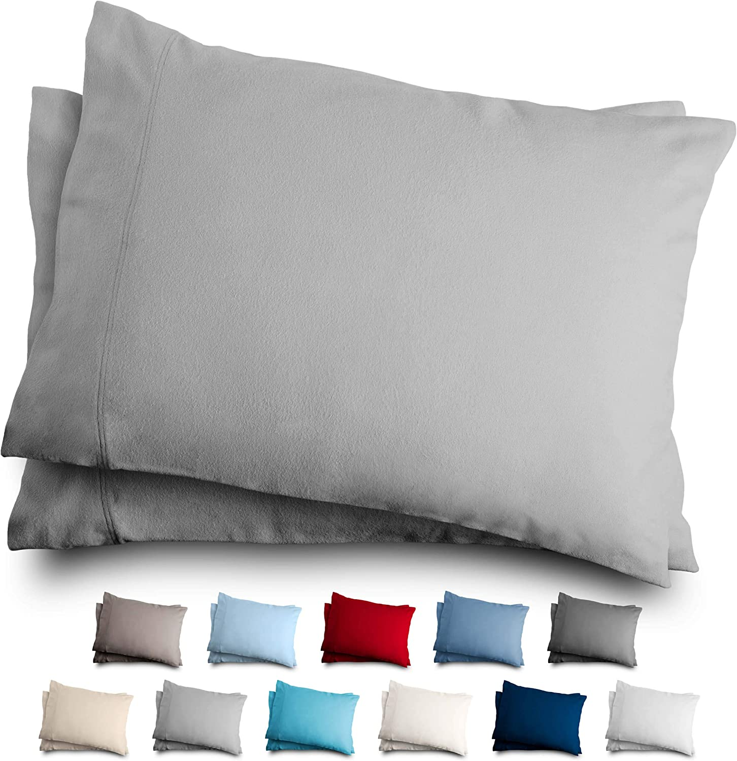 Bare Home King Flannel Pillowcase Set - 100% Cotton - Velvety Soft Heavyweight - Double Brushed Flannel (King Pillowcase Set of 2, Light Grey)