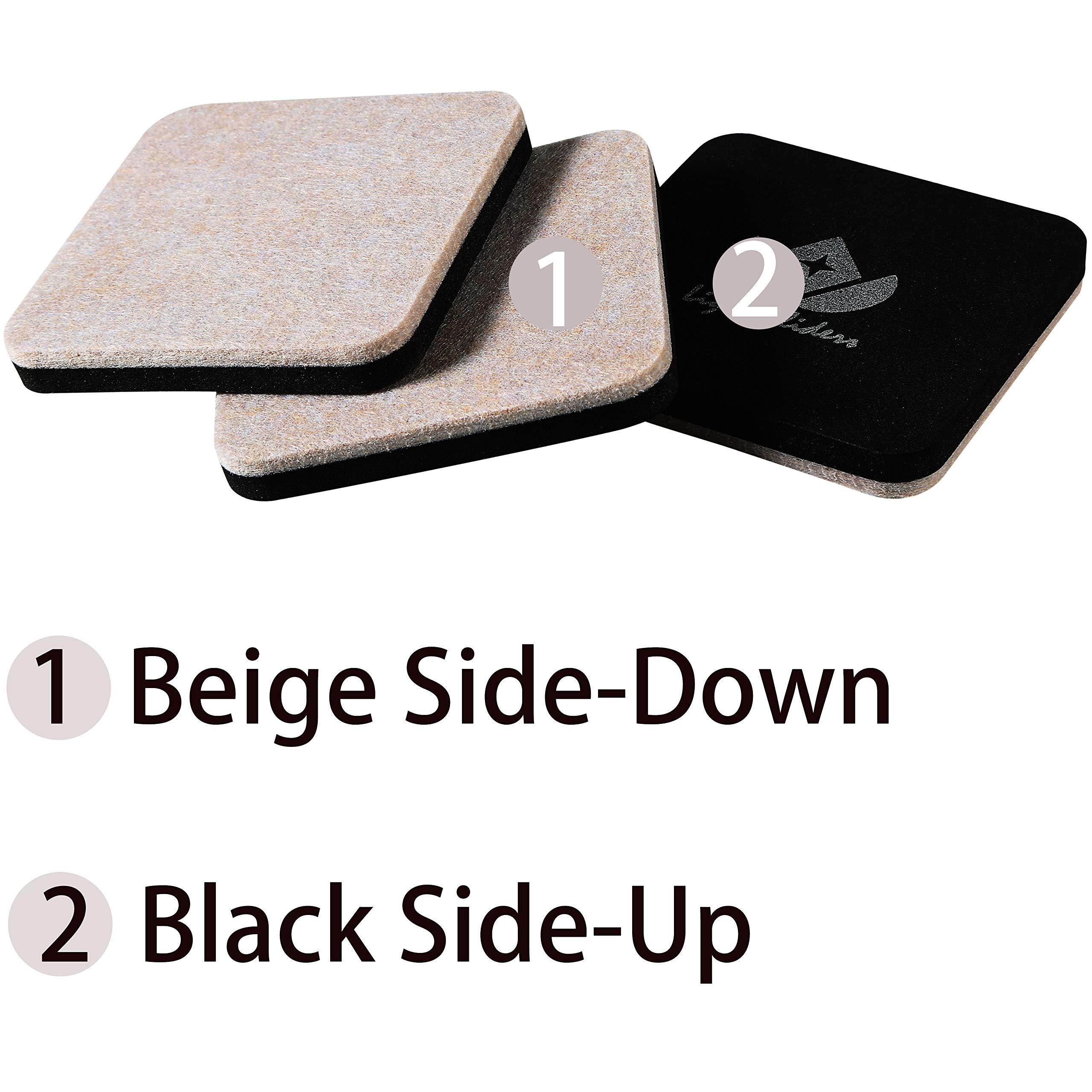 Liyic 4in.Square 16 Pack Felt Sliders for Hard Surfaces-Felt Furniture Sliders - Heavy Duty Sliders - Reusable Hardwood Floor Sliders -Furniture Moving Sliders-Sofa Sliders Gliders Glides Movers by Liyic (Image #3)