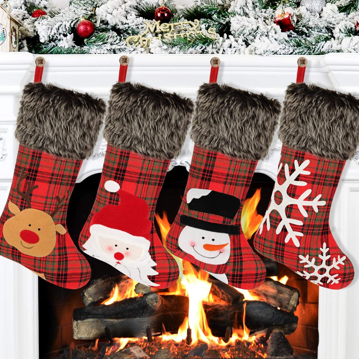 """Aitbay Christmas Stockings, 4 Pack 18"""" Big Xmas Stockings, Burlap Plaid Style with Snowflake Santa Snowman Reindeer and Plush Faux Fur Cuff Family Pack Stockings for Xmas Holiday Party Decor"""