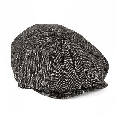 a73b5fd0846 Men s Ladies 8 Panels Baker Boy Newsboy Gatsby Style Flat Cap Herringbone -  Grey (58