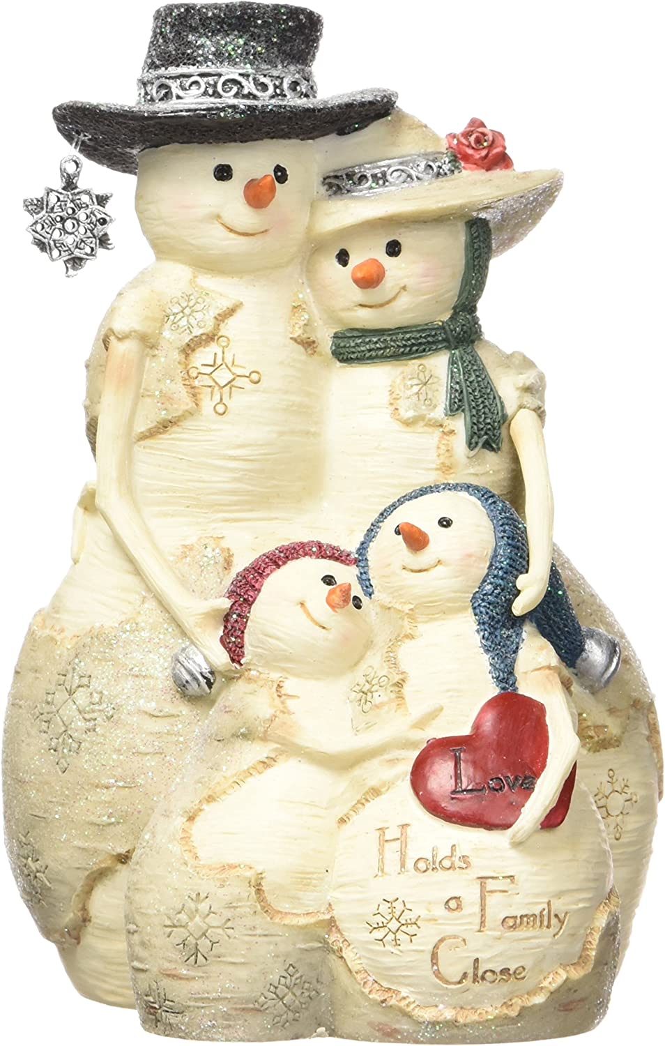 Pavilion Gift Company BirchHeart 5-Inch Tall Snowman Family, Reads Love Holds a Family Close