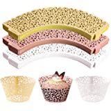 WUWEOT 150 Pack Cupcake Wrappers, Little Vine Lace Laser Cut Liner, Paper Baking Cups for Wedding Party Birthday Baby Showers