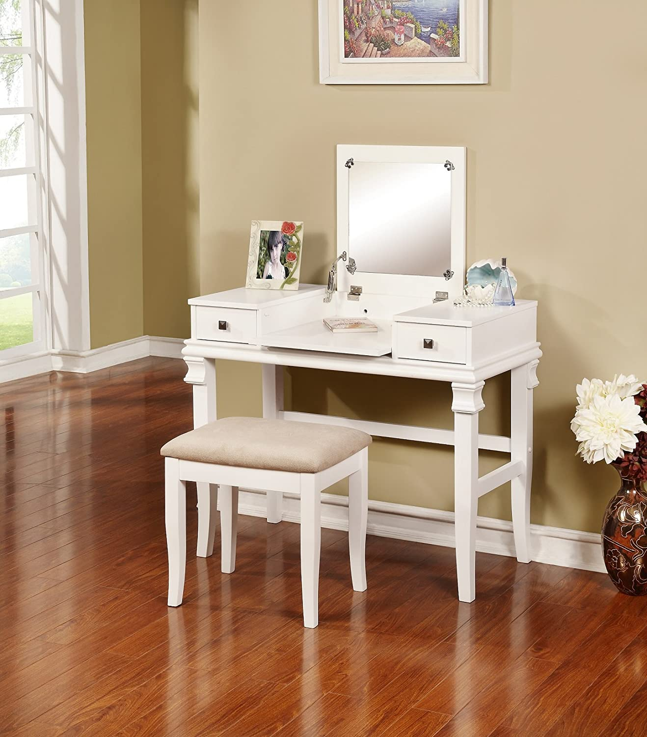 Angela Two Piece Vanity Set in Rich White Finish