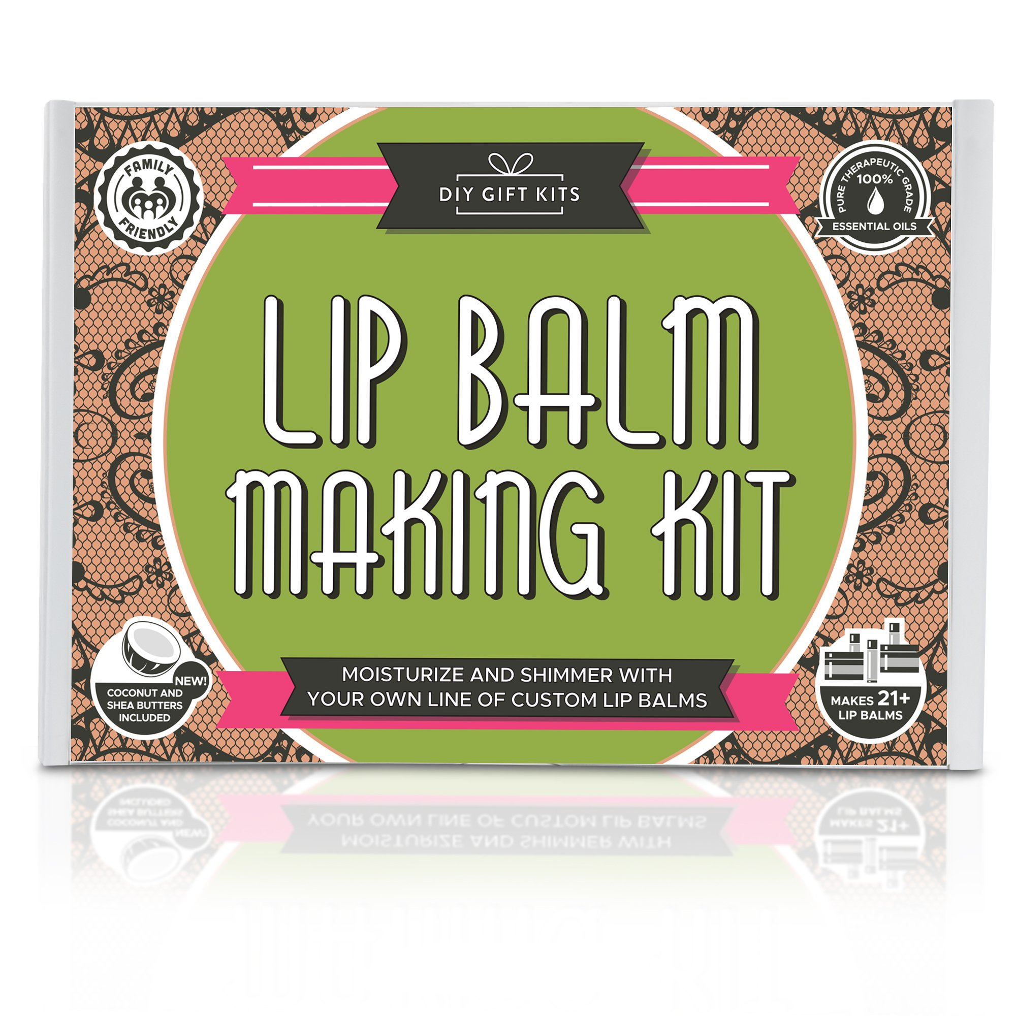 DIY Lip Balm Kit, (73-Piece Set) Homemade, Natural and Organic   Includes Tubes, Beeswax Pouch, Essential Oils, Labels, Stir Sticks & More