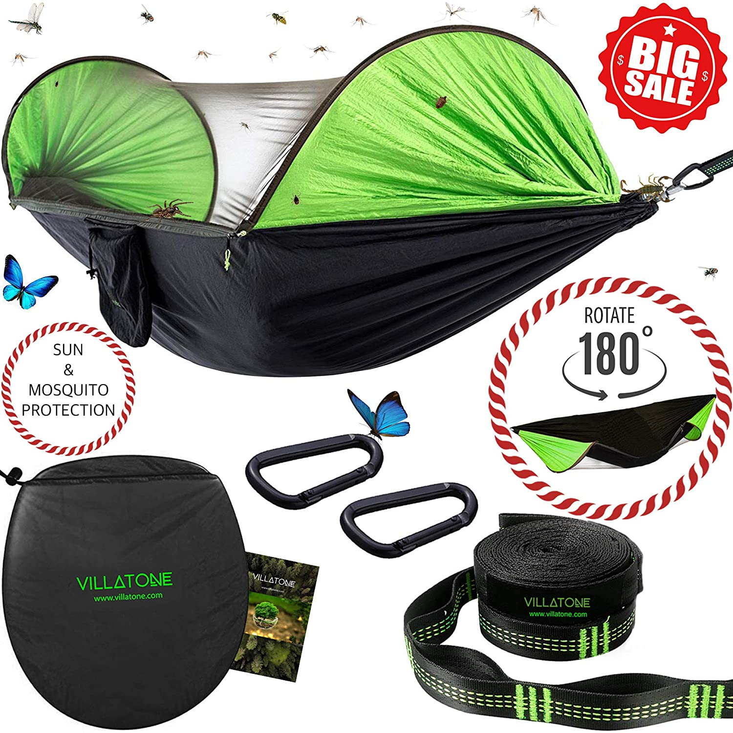 VILLATONE Camping Hammock with Mosquito Net. Easy Setup No-Ropes No-Knots Professional Straps and Carabiners . Lightweight Parachute Nylon Hanging Hammock with Bug Netting and Sun Shield