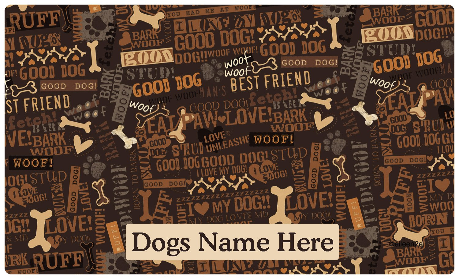 Drymate Custom Personalized Dog Place Mat - Best Friend Brown - Personalized Dog Food Mat (Large - 16'' x 28'')